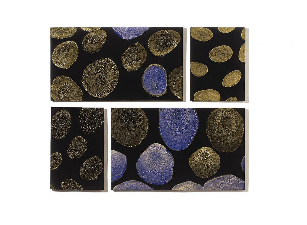 Kimono, Four Black Glass Panels with Gold Leaf